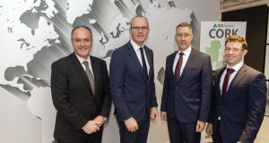 Tánaiste and Minister for Foreign Affairs Simon Coveney, second from left,  at the offices of Nomadic Insurance Benefits, City Quarter, Cork, with Joseph Collum, Bernard O'Sullivan  and Mark Shorten. Photograph: Michael Mac Sweeney/Provision