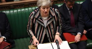 British prime minister Theresa May says she is ready to debate Brexit deal with Labour leader Jeremy Corbyn. Photograph: TAYLOR/AFP/Getty Images