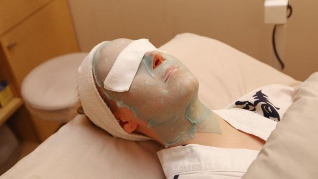 Bird poop: a woman has a geisha facial in New York. Photograph: James Ambler/Barcroft USA/Getty