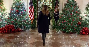 First Lady Melania Trump in the Cross Hall of the White House. Photograph: Andrea Hanks/The White House