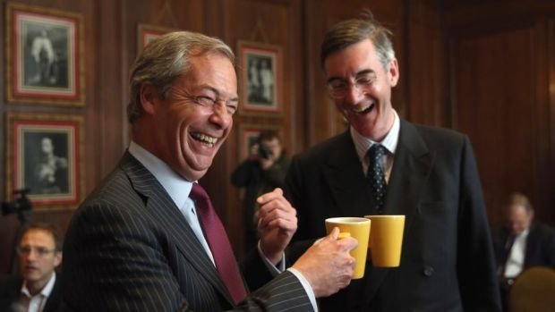 The supercilious Nigel Farage and the snooty Jacob Rees-Mogg represent just one aspect of the Leave side. Photograph: Dan Kitwood/Getty