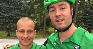 Donnacha McCarthy with his triathlon guide Stephan Teeling Lynch. The pair recently competed  in a triathlon in Estonia