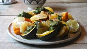 Warm roasted squash and ruby grapefruit salad with salsa verde
