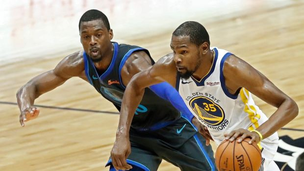 Kevin Durant (R) of the Golden State Warriors. The NBA is the highest paying league in the world on average. Photograph: Larry W Smith/EPA