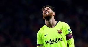 Barcelona's Lionel Messi earns more than €56m a year. Photograph: Rodrigo Jimenez/EPA