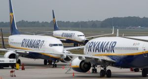 Ryanair shares fell on the Iseq, ending the day down 3.5 per cent to €11.80. Photograph: Wolfgang Rattay/Reuters
