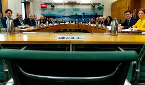 NO SHOW: A view of Facebook founder Mark Zuckerberg's non-attendance at the Digital, Culture, Media and Sport Committee at British Parliament buildings in London, to answer questions on Facebook policy. Irish Green Party leader Eamon Ryan is second right. Photograph: Gabriel Sainhas/House of Commons/Reuters