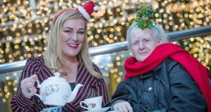 "Katherine Lynch and Margaret Browne (right) launch Alone's  ""Have a Laugh for Loneliness this Christmas"" campaign in the Powerscourt Townhouse Centre, Dublin on Tuesday, November 27th Photograph: Arthur Carron"