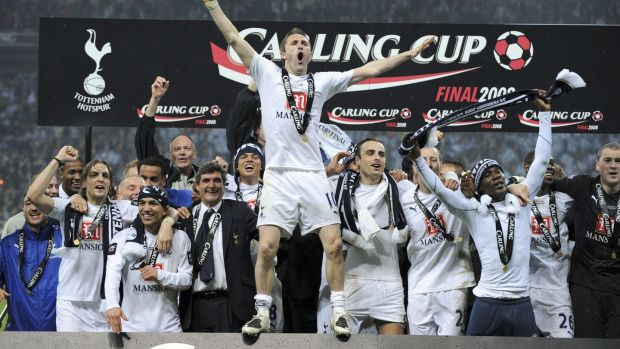 Keane celebrates after winning the League Cup with Spurs in 2008. Photo: Popperfoto/Getty Images