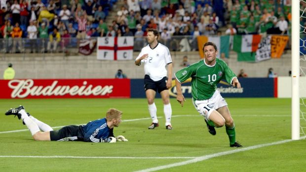 Keane scores celebrates after scoring against Germany in the 2002 World Cup. Photo: Andrew Paton/Inpho