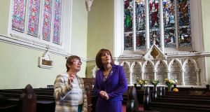 Reverend Bridget Spain and Minister for Culture, Heritage and the Gaeltacht Josepha Madigan at the Unitarian Church, St Stephen's Green for the launch the Built Heritage Investment Scheme and Historic Structures Fund for 2019