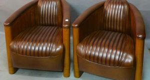 Lot 246, pair of brown leather art deco tub chairs, €2,400-€2,600 at Mullens
