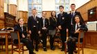 Students of the Methodist College Belfast  (from left) Joni Mcilroy, Jonathan Mearns, Izaak Carnduff, Hala Heenan, Adam Flanagan, Jake Lowry and Shannon McKeown. Photograph: Bryan O'Brien