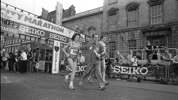 Mary Purcell winning the 1983 Dublin City Marathon; she retired from competitive running shortly afterwards. Photograph: Dermot O'Shea