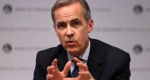 Governor Mark Carney during the Bank of England's financial stability report at the Bank of England in the City of London. Photograph: Daniel Leal-Olivas/PA Wire