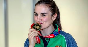 Kellie Harrington with her gold medal from the lightweight final at the AIBA Women's World Boxing Championships. Photograph: Morgan Treacy/Inpho