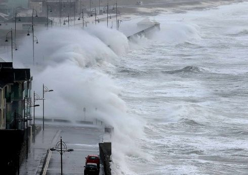 WAVES: Storm Diana batters the promenade at Tramore, Co.Waterford at high tide on the morning of Wednesday, November 28th. Photograph: Noel Browne
