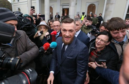 SPPEDSTER: MMA star, Conor McGregor is pictured leaving Naas District Court after appearing there on motoring related charges. Mr McGregor received a six-month driving ban for speeding And was fined €1,000 for breaking the speed limit at 154km/h. Photograph: Colin Keegan/Collins
