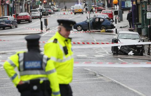 INCIDENT: The scene of an incident in Castleblaney, Co. Monaghan on Wednesday where a man has been killed and a Garda injured in a crash. Photograph: Brian Lawless/PA Wire
