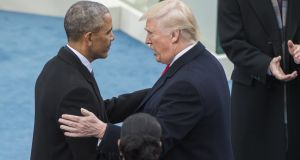 Barack Obama meets Donald Trump as he is sworn in as US  president: Mr Trump talks about the US as a self-interested state among self-interested states, unique in its power but not in its existential purpose, which is to survive and prosper. Photograph: Tom Williams/CQ Roll Call