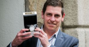 Martin Cullinane with his Seiko Just In Time award for a commendable act of heroism. Photograph: Gareth Chaney/Collins