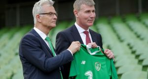 FAI high performance director Ruud Doktur with new Republic of Ireland U-21 manager Stephen Kenny. Photograph: Laszlo Geczo/Inpho