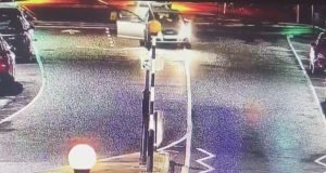 CCTV from the incident in Castleblayney where a vehicle collided with a parked car causing the death of Stephen Marron.