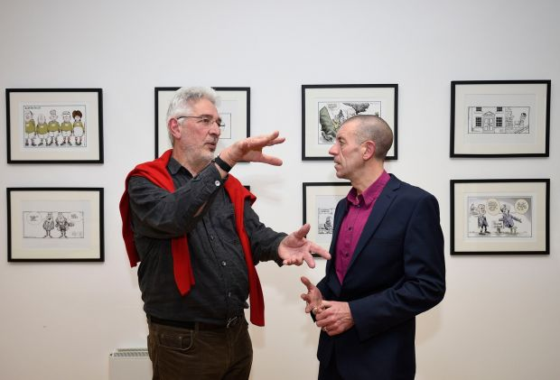 Martyn Turner with historian Diarmuid Ferriter who opened the exhibition. Photograph: Dave Meehan/The Irish Times