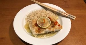 Steamed Asian fish with ginger and chilli