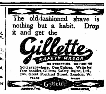 The old-fashioned shave is nothing but a habit... (May 24, 1916)