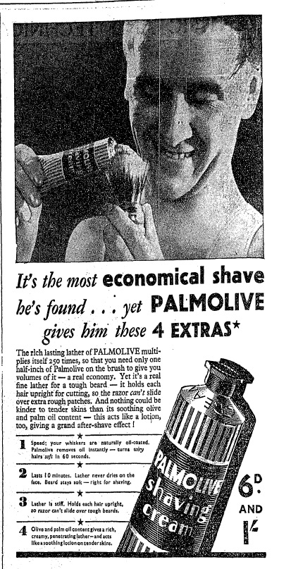 It's the most economical shave he's found (March 27th, 1936)