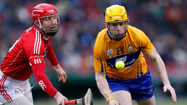 Cork Midfield Bill Cooper chases Clare Substitute Conor McGrath in the semifinal game of the Fenway Hurling Classic held at Fenway Park in Boston in November 2018. File photograph: CJ Gunther/EPA