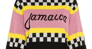 Knitted mohair sweater with Jamaica on the front and Milan on the back €350 from MSGM