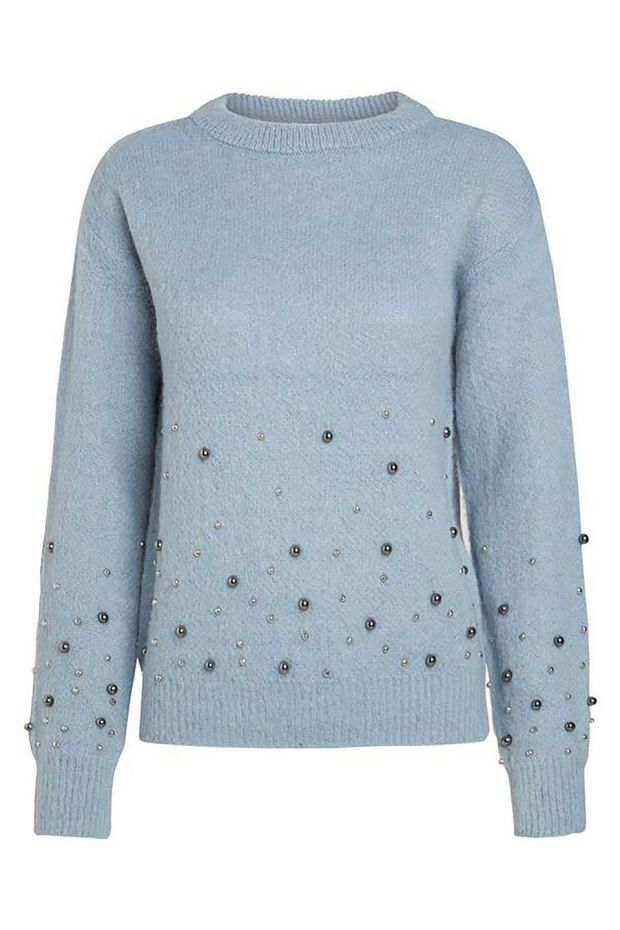 Baby blue embellished wool knit 40 from willow.ieAlso comes in pink