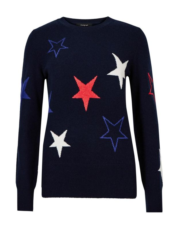 "Pure cashmere long sleeved ""star"" jumper 135 M"