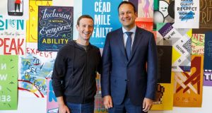 Facebook chief executive Mark Zuckerberg with Taoiseach Leo Varadkar. Facebook Ireland's revenue rose last year by 48 per cent to €18.7 billion. Photograph: Suzanne Lynch