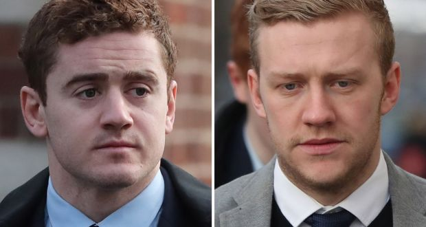 """Rugby players Paddy Jackson and Stuart Olding: their           trial and acquittal was the subject of """"Documentary on One:           Notes from a Belfast Rape Trial"""". File photograph: Niall           Carson/PA"""