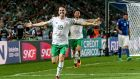 Ireland's Robbie Brady celebrates scoring the winner against Italy during the group stages at Euro 2016. Photo: Donall Farmer/Inpho