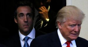 File photograph: Michael Cohen (left) pictured with then Republican presidential nominee Donald Trump arriving at  a campaign stop  in Cleveland Heights, Ohio on September 21st, 2016 Photograph: Jonathan Ernst/Reuters