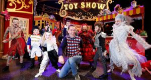 Ryan Tubridy at the Late Late Toy Show photocall on Thursday with Bearded lady Alanna's Willoughby, 12, Carlow; Napoleon Luke O'Connor, 7, Dublin; Fat man Matthew Little, 12, Ardee; 3-Legged man Kayla McMahon, 10, Balrothery; Wolfman Colm Sullivan, 8, Navan; Tattoo man Dylan O Connor, 11, Dublin; Pierrot Clown Enya Allen, 5, Navan and Albino Ella Maher, 10, Carlow. Photograph: Nick Bradshaw