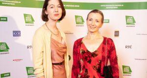 Irish Novel of the Year winner Sally Rooney and Man Booker Prize winner Anna Burns at the An Post Irish Book Awards. Photograph: Patrick Bolger