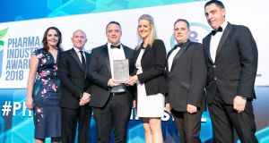 The AbbVie team are presented with Biopharma Company of the Year at the Pharma Industry Awards.