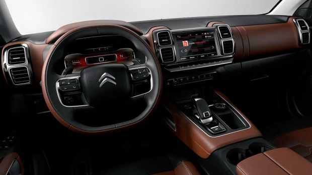 Inside the C5 Aircross, Citroen's recently departed design chief Alexandre Malval opted for a mobile living-room theme.