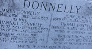 The Donnelly headstone in Lucan, Ontario. Photograph: Gerard Walsh