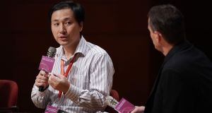 Researcher He Jiankui claims to have altered the DNA of the twins to try to make them resistant to infection with the Aids virus. Photograph: Anthony Kwan/Bloomberg
