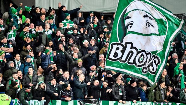 Celtic's travelling support saw their side win 1-0 in Trondheim. Photograph: Ole Martin Wold/AFP/Getty