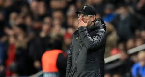 Liverpool manager Jurgen Klopp   on the touchline during his side's 2-1 defeat to PSG   at the Parc des Princes, Paris. Photograph: Mike Egerton/PA Wire