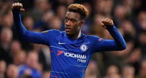 Callum Hudson-Odoi scored his first Chelsea goal against PAOK. Photograph: Will Oliver/EPA
