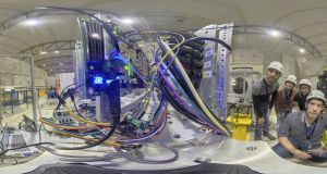 A360 degree view of the Intel Myriad 2 chip under test at CERN. Photograph: The European Space Agency