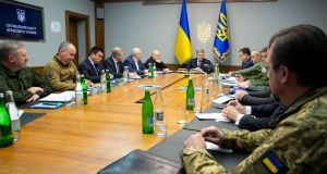 Ukrainian President Petro Poroshenko chairs a meeting with heads of military and security forces in Kiev, Ukraine on Friday. Photograph: Mykhailo Markiv/Ukrainian Presidential Press Service/Handout via Reuters